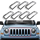 Triple Chromed Front Grille Grill Inserts Trims Decor Rings Covesr Guards Protectors for Jeep Patriot 2011 2012 2013 2014 ABS 7pcs/set