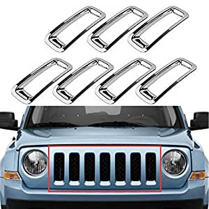 Triple Chromed Front Grille Grill Inserts Trims Decor Rings Covesr Guards Protectors for Jeep Patriot 2011-2016 7pcs/set (Chrome)