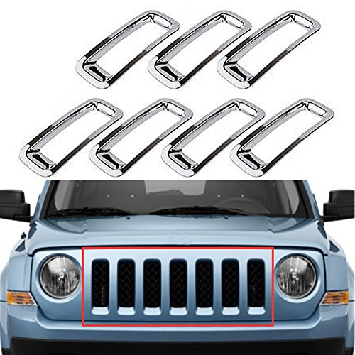 Triple Chromed Front Grille Grill Inserts Trims Decor Rings Covesr Guards Protectors for Jeep Patriot 2011 2012 2013 2014 ABS 7pcs/set (Chromed Billet)