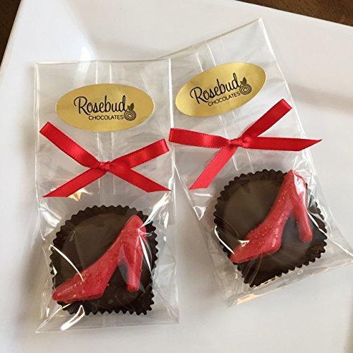 12 RUBY RED SLIPPERS High Heel Milk Chocolate Covered Oreo Cookies Candy Party Favors (One Dozen)