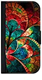 Mosaic Flower Petals- Wallet Case for the Samsung Galaxy s4 i9500-Black leather-Look Case with Flip Cover and Magnetic Closure