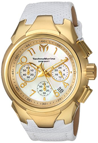 Technomarine Women's Sea Stainless Steel Quartz Watch with Leather Calfskin Strap, White, 25 (Model: TM-715033