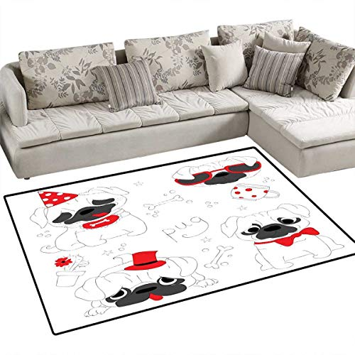 """Pug Floor Mat for Kids Dogs in Various States Sad Happy Cool Excited Dog Bone Dotted Mug Caricature Style Bath Mat Non Slip 48""""x60"""" Black Red White"""