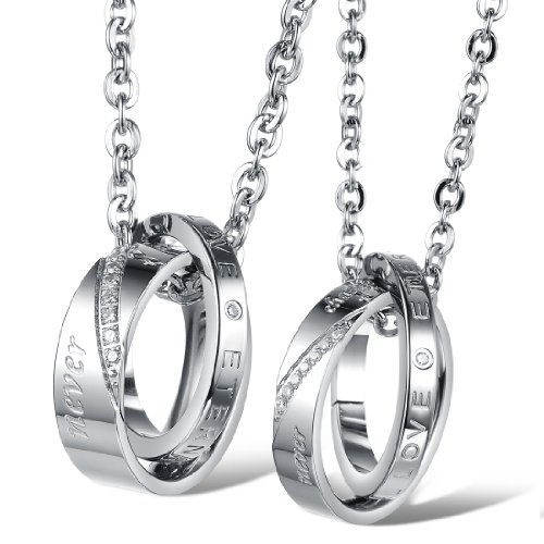 Fate Love His and Her Heart Shape Puzzle Stainless Steel Matching Couples Lover Necklace Set (Couple Promise Necklace Rose Silver & Silver)