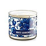 Bath and Body Works White Gardenia Large 3 Wick Candle Decorative Blue Flower Design