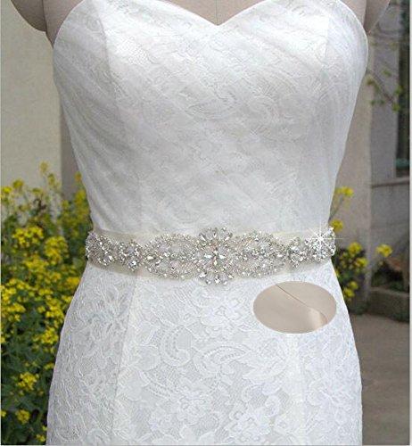 QueenDream champagne rhinestone sash bridesmaid sash belt...