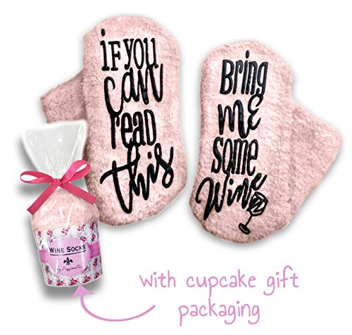 Passionette Fuzzy Wine Socks: If You Can Read This Bring Me Some Wine Novelty Socks - Funny Gift Idea for Her - Anniversary, 21st Birthday with Cupcake Gift Packaging (Baby Blush) - Sweetheart Rose Cup