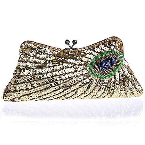 - BABEYOND 1920s Flapper Peacock Clutch Gatsby Sequined Evening Handbag Beaded Bag (Style 1-Gold)