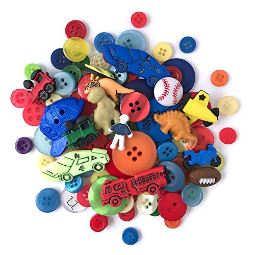 Buttons Galore and More Collection Round Novelty Buttons & Embellishments Based on Variety of Themes, Holidays and Seasons for DIY Crafts, Scrapbooking, Sewing, Cardmaking and Other Projects - 50 Pcs -