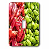 3dRose RinaPiro Farmers Market - Chili peppers. Veggies. Red and green. - Light Switch Covers - single toggle switch (lsp_268738_1)