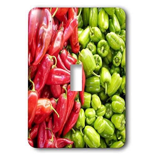 3dRose RinaPiro Farmers Market - Chili peppers. Veggies. Red and green. - Light Switch Covers - single toggle switch (lsp_268738_1) by 3dRose