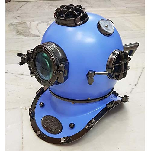 Royal Victorian Export Blue Hand Crafted with Black Chrome Scuba Morse Boston Brass Diving Helmet US Navy Divers Helmet with Heavy Duty Wooden Stand