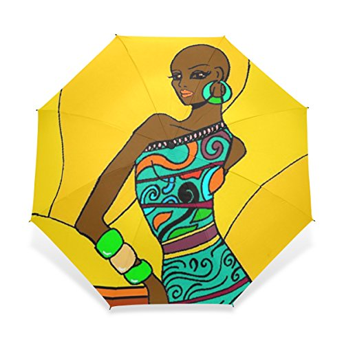 BAIHUISHOP Windproof Golf Umbrella Compact for Travel By Easy Carrying Sports Rain Umbrella - Strong Frame Unbreakable African Clipart Pattern Pattern
