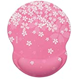 EXCO Ergonomic Mouse Pad Black with Soft Gel Wrist Support, Non-Slip PU Base Smooth Surface Wrist Rest Pad -Fit for Computers and Laptops (Pink Sakura Pad)