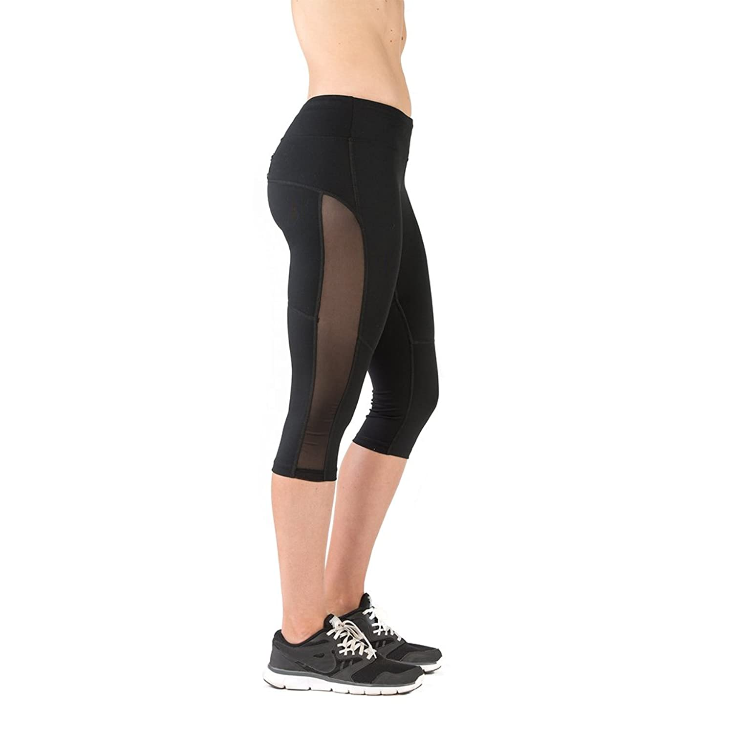 Athletic Capri Running Pants Black Crop Leggings FABB Activewear ...