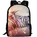 Markui Adult Travel Hiking Laptop Backpack Zebra Head Band Fantasy Pattern School Multipurpose Durable Daypacks Zipper Bags Fashion