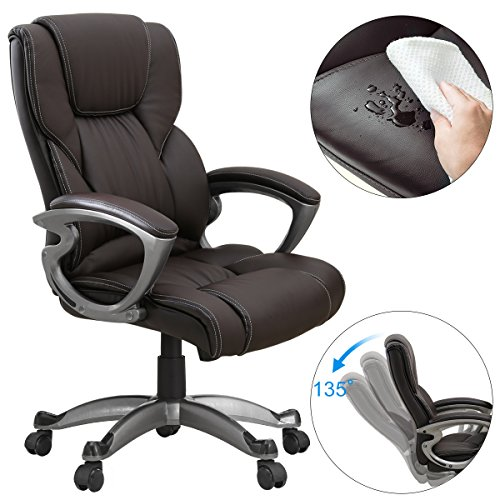 YAMASORO Leather Office Chair High Back Computer Gaming Desk Chair Executive Ergonomic Lumbar Support Brown by YAMASORO