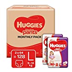 Huggies Wonder Pants Large (L) Size Baby Diaper Pants Monthly Pack, 128 count, with Bubble Bed Technology for comfort