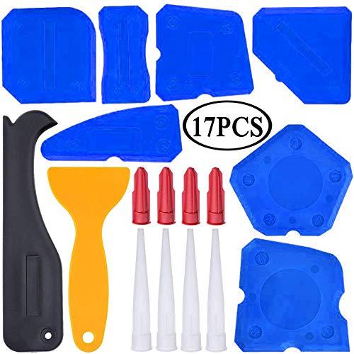 17 Pieces Caulking Tool Kit Sealant Tools Silicone Sealant Finishing Tool Grout Scraper Caulk Remover and Caulk Nozzle…