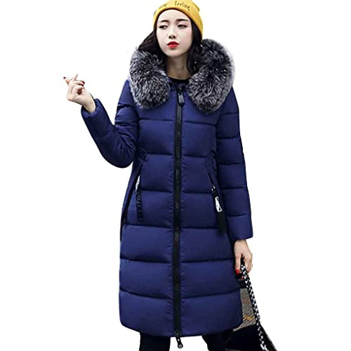 Ranboo grueso abrigos de invierno de las mujeres cuello de piel de algodón con capucha larga chaquet...