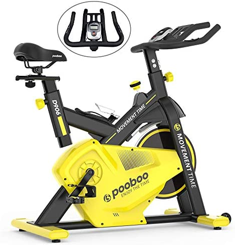 pooboo Indoor Cycle Bike, Cycling Trainer Exercise Bike, Belt Drive and LCD Monitor