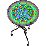 """Trademark Innovations TBLE-Side-PCOCK 22"""" Peacock Design Glass and Metal Side Table, Multi"""