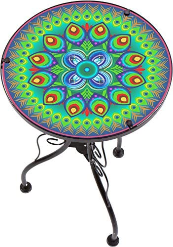 22″ Peacock Design Glass Metal Side Table