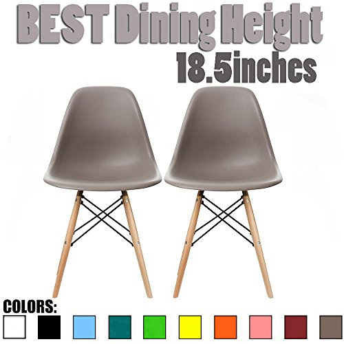 2xhome Set of 2 Taupe Gray Mid Century Modern Contemporary Vintage Molded Shell Designer Side Plastic Eiffel Chairs Wood Legs for Dining Room Living Office Conference DSW Desk Kitchen Comfortable