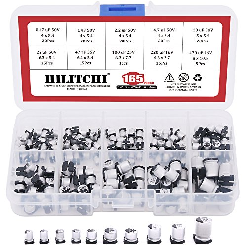 Hilitchi 165-Pcs [0.47nF ~ 470nF] SMD Aluminum Electrolytic Capacitors Assortment Kit - 10 Values
