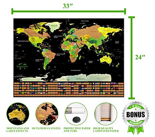 World Scratch Off Map Deluxe – Large Scratch Map for World Travel – 32.5 x 23.4 Laminate Black Color Scratch Travel Map Poster – Scratch World Map Travel Tracker with Outlined USA and Country Flags Photo #4