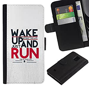 UNIQCASE - Samsung Galaxy S5 Mini, SM-G800, NOT S5 REGULAR! - Wake Up And Run Message - Cuero PU Delgado caso cubierta Shell Armor Funda Case Cover
