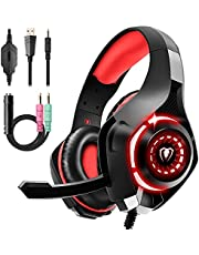 Gaming Headset for PS4 Xbox One PC, Over Ear Gaming Headphones with Noise Cancelling Microphone LED Light, PS4 Headset with Stereo Surround Sound for Laptop, PC, Smartphones, Mac, iPad
