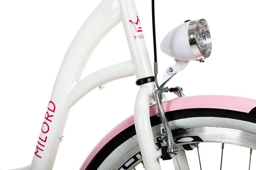 Milord 26 1 Vitesse Blanc Rose V/élo de Confort avec Panier Bicyclette Femme V/élo de Ville Retro Vintage