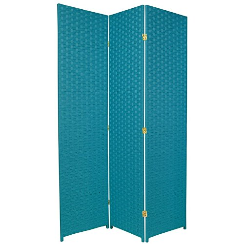 - ORIENTAL Furniture Beautiful Colorful Floor Screen, 6-Feet Tall Woven Fiber Rattan Style Room Divider, Special Edition, Turquiose