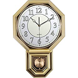 Traditional Schoolhouse Pendulum Luminous Wall Clock Chimes Hourly with Westminster Melody Made in Taiwan, 4AA Batteries Included (PP0265-3L Gold Plating)