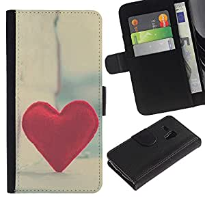 KingStore / Leather Etui en cuir / Samsung Galaxy S3 MINI 8190 / Del amor del corazón del inconformista