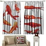 DuckBaby Bedroom Curtains 2 Panel Koi Fish Legendary Koi Fish Band Chinese Good Fortune and Power Icon Tranquility Image Thermal Insulated Tie Up Curtain W63 xL63 Orange White