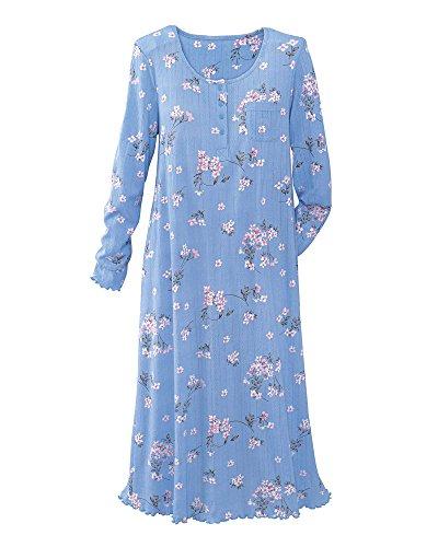 National Comfy Pointelle Knit Gown, Blue Floral, Petite Medium