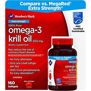 Member's Mark Extra Strength 100% Pure Omega-3 Krill Oil (160 ct.) (Jar of 4) AS by American Standart