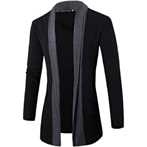 AMBLY ロングカーディガン メンズ 大きいサイズ 羽織 無地 薄手 バイカラー 黒 グレー 大きいサイズ