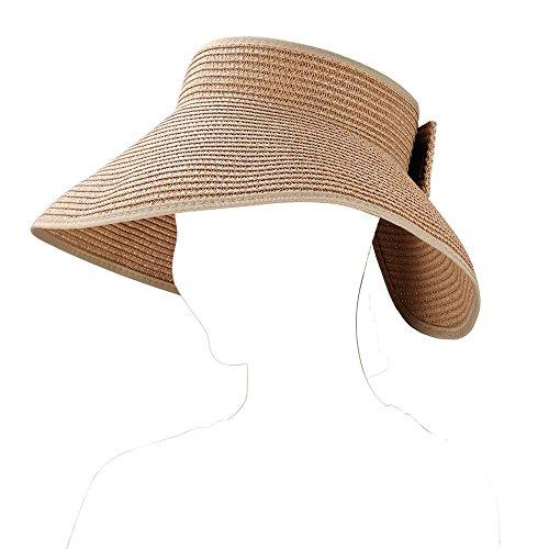 Aerusi Women's Straw Wide Brim Bowknot Floppy Roll-up Visor Summer Beach Sun Hat, Khaki (One Size fits most) by Aerusi