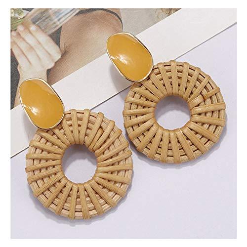 Multiple 27 Style Korea Handmade Wooden Straw Weave Rattan Vine Braid Drop Earrings,Yellow Alloy