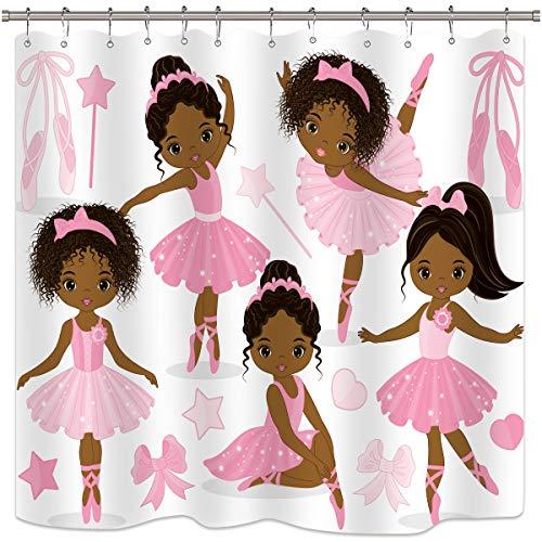 Riyidecor Pink Ballet Shower Curtain Cute Girl Ballerina Dancer Skirt Gymnastic Kid Nursery Bathroom Child Fabric Waterproof for Bathtub 72x72 Inch Included 12-Pack Plastic Shower Hooks