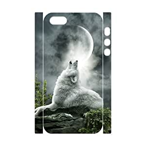 3D Bumper Plastic Customized Case Of Wolf Howling for iPhone 5,5S