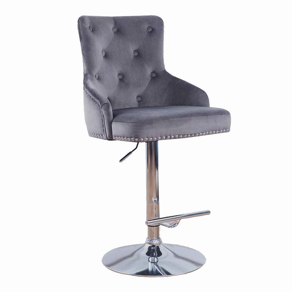 DMF Furniture Velvet Bar Stools Chairs with High Back Arms, Height Adjustable in Kitchen Dining Counter Room Fabric Barstool Grey