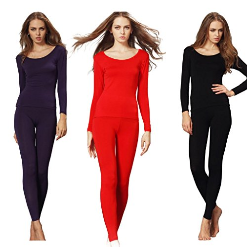 Liang Rou Women's Scoop Neck Stretch Top & Bottom Thin Thermal Underwear Set 3-Pack Size L
