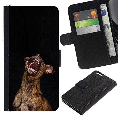 EuroCase - Apple Iphone 6 PLUS 5.5 - Australian cattle dog yawn teeth - Cuero PU Delgado caso cubierta Shell Armor Funda Case Cover