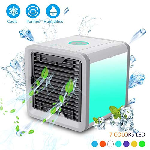 Light-AL 2019 Latest Portable Personal Air Cooler Fan, Portable Air Conditioner, Humidifier, Purifier 3 in 1 Evaporative Cooler, Mini AC USB Cooling Desktop Fan for Bedroom, Travel, Office ... (Best Portable Evaporative Cooler 2019)