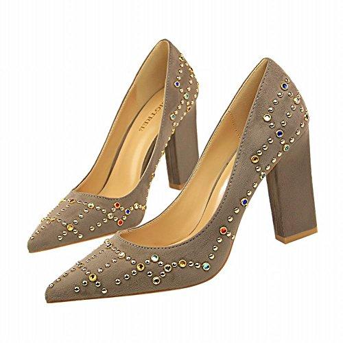 MissSaSa Damen Modern Step Pointed Toe Pumps Grau