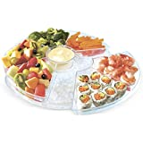 Kleeger Lazy Susan On Ice Food Serving Tray - Party Serving Platter Keeps Appetizers & Desserts Chilled & Fresh - Portable Spinning Design - Ideal For Breakfast, Dinner, Chilled Cheese & More